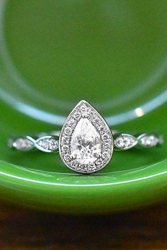 white gold engagement rings pear cut diamond halo