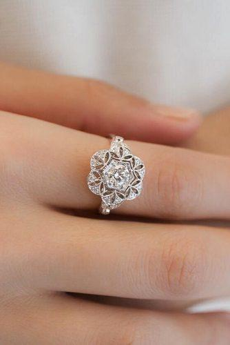 white gold engagement rings snowflake halo vintage round cut