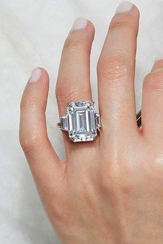 white gold engagement rings three stones emerald cut solitaire