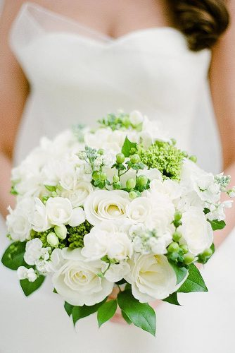white wedding bouquets with white roses and bright greenery kelli durham via instagram