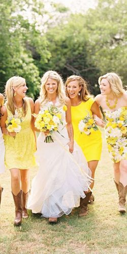yellow bridesmaid dresses short bright ashley nicole photography