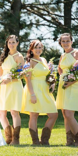 yellow bridesmaid dresses short jewel neckline lavender leight photography
