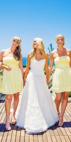 yellow bridesmaids dresses short pale true photography