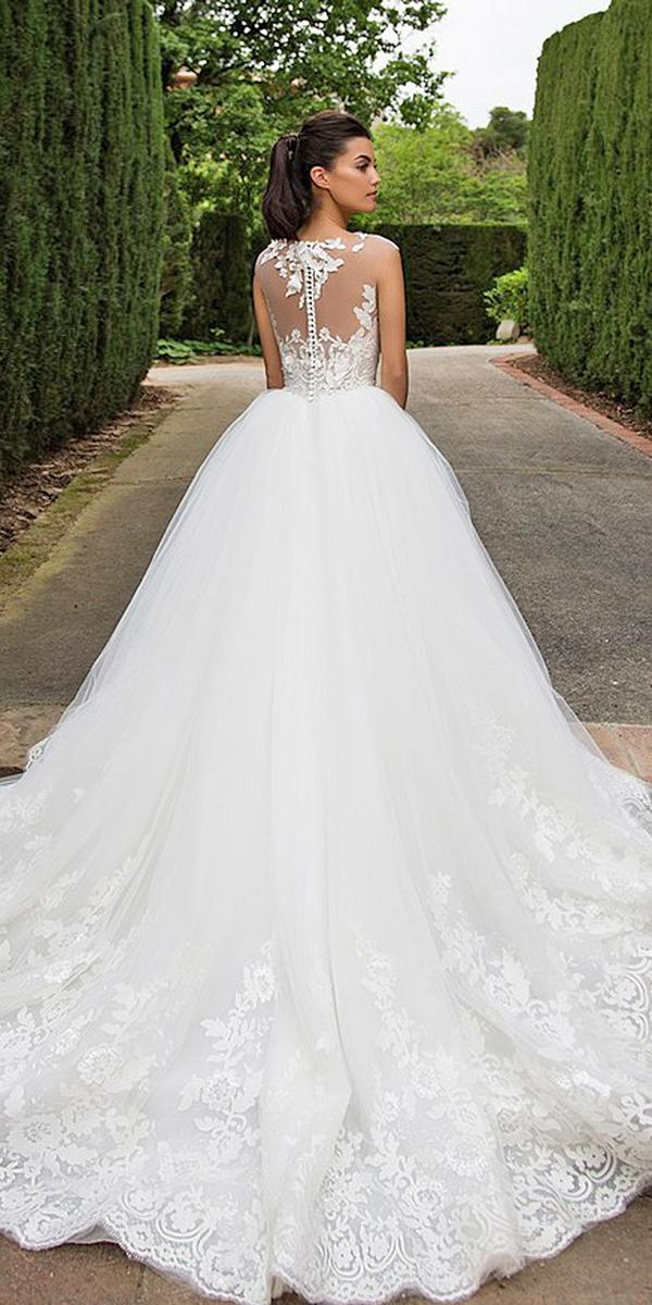 backless wedding dresses ball gown illusion lace back milla nova