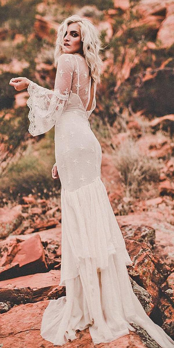 backless wedding dresses sheath boho with sleeeves chantel lauren designs