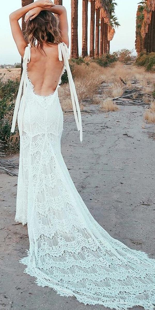 backless wedding dresses sleevless boho open back with train beach daughters of simone