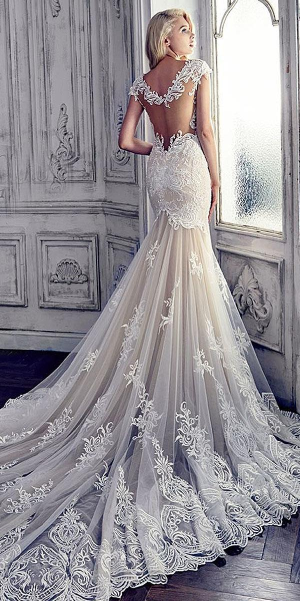 backless wedding dresses with cap sleeves lace backless unique with train blossoms dress