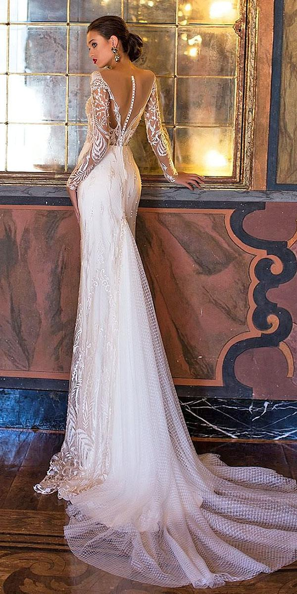 backless wedding dresses with illusion long sleeves lace back milla nova