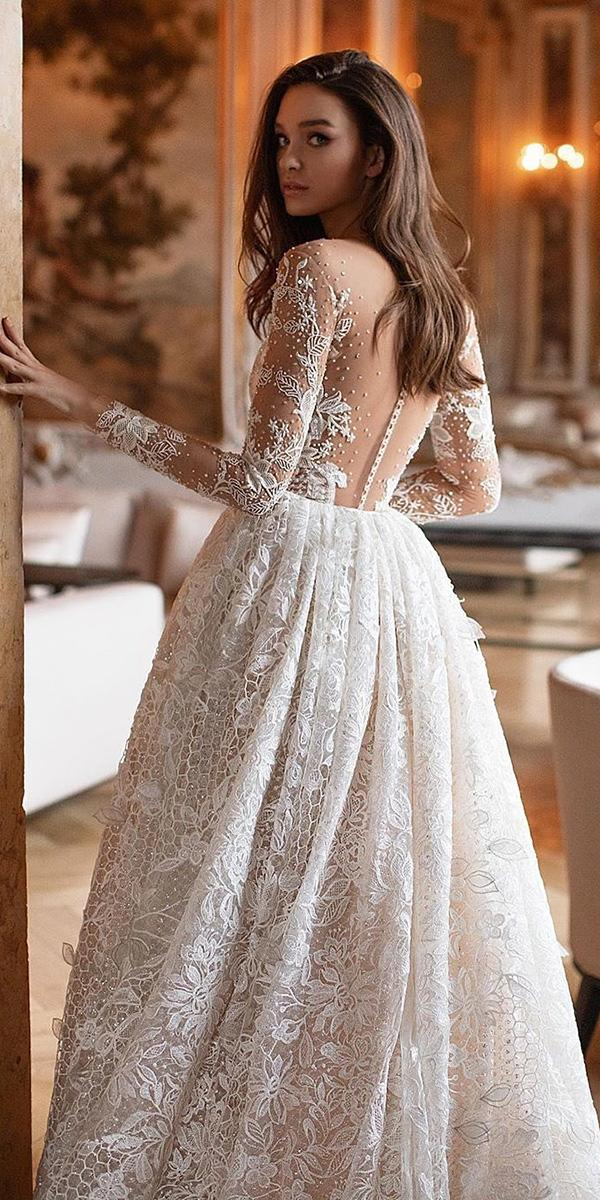 backless wedding dresses with illusion long sleeves tattoo effect lace millanova