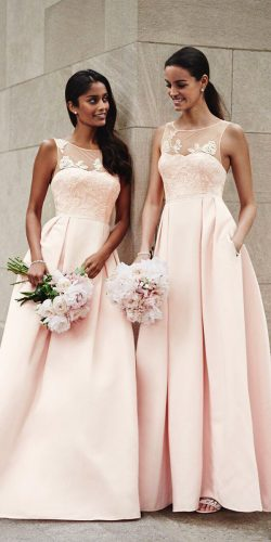 blush bridesmaid dresses charming halter long davids bridal