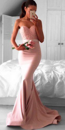 blush bridesmaid dresses lace strapless sweetheart neckline mermaid doll house bridesmaids