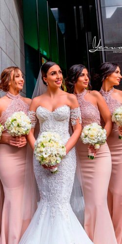 blush bridesmaid dresses long lace halter neckline sleeveless lace yervant