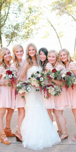 blush bridesmaid dresses short lace with short sleeves floral kori jared