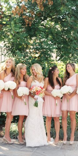 blush bridesmaid dresses short one shoulder sweetheart sara hasstedt