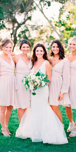 blush bridesmaid dresses short with sleeves v neckline christine donee