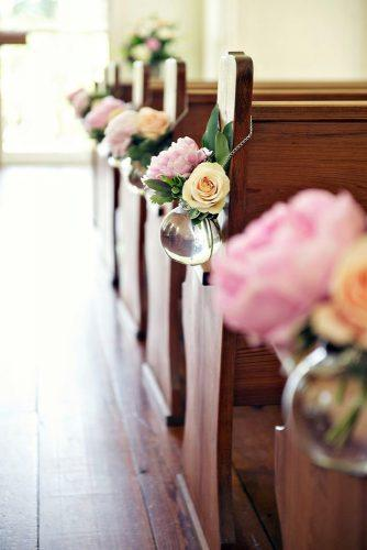 church wedding decorations aisle with blush roses in glass vase blume photography