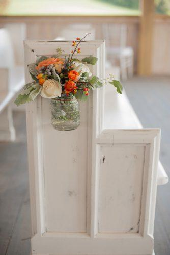 church wedding decorations aisle with orange flowers twilas photography