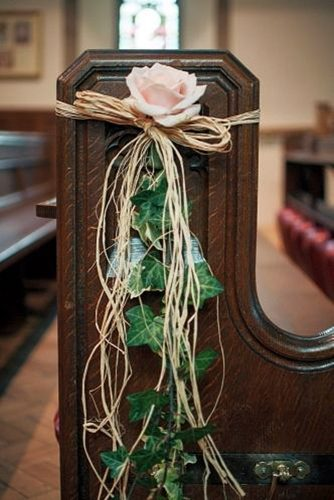 church wedding decorations pink rose green leaves and flaxen ropes every bloomingthing
