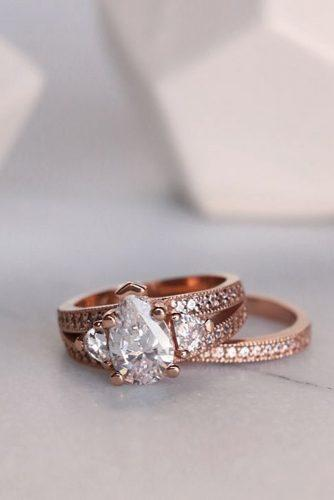 diamond wedding rings rose gold pear three stones pave band split