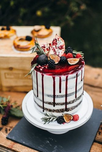 drip wedding cakes naked with fruit and red drops erica obrien via instagram