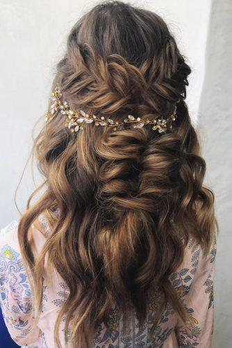 easy wedding hairstyles half up half down with braids and halo svglamour