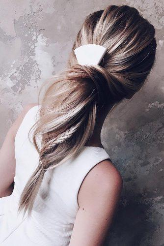 easy wedding hairstyles high long blonde ponytail with braid lena_bobs