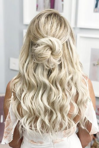 easy wedding hairstyles on blonde curly hair half up half dowb with bun sunkissedandmadeup