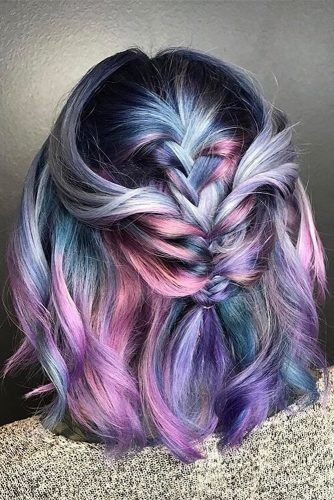 easy wedding hairstyles short haircut looks sweet and romantic with blue pink color scheme and braids evanturnerhair