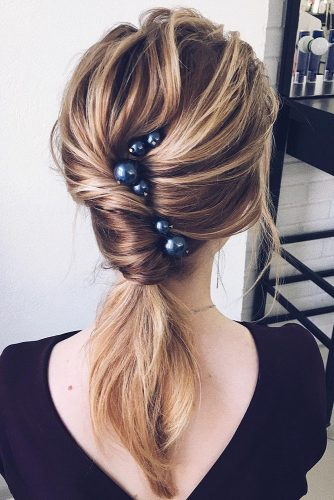 easy wedding hairstyles swept low ponytail on medium blonde hair lenabogucharskaya