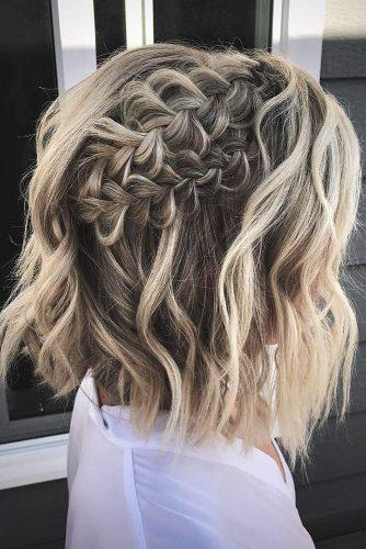 easy wedding hairstyles wavy short hair with braided halo hairbykayt
