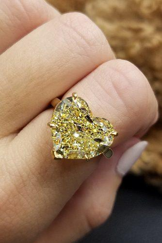 engagement ring trends 2019 solitaire heart cut yellow diamond
