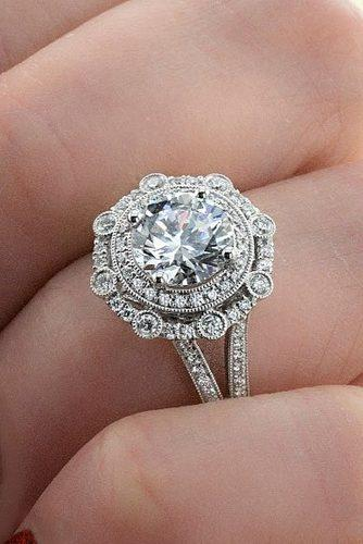 engagement ring trends 2018 white gold vintage halo