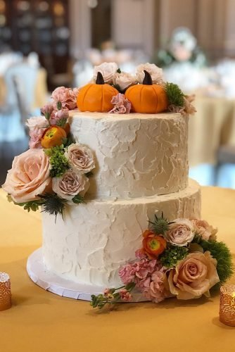 fall wedding cakes buttercream white with flowers and pumpkins bouquetcakes_dc