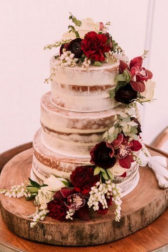fall wedding cakes naked tall with burgundy orchids and flowers popcorn photography