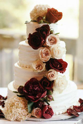 fall wedding cakes small white with burgundy and white roses and peonies jordan voth photography