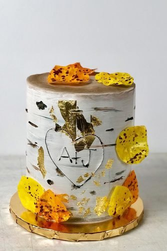 fall wedding cakes white small birch tree with yellow leaves and heart merakicakes