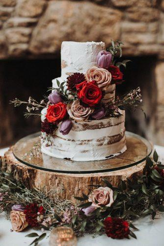 fall wedding cakes with red and dusty pink roses swak photography