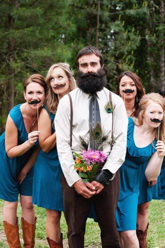 funny wedding pictures bridesmaids and groom with diy pops jessica feely