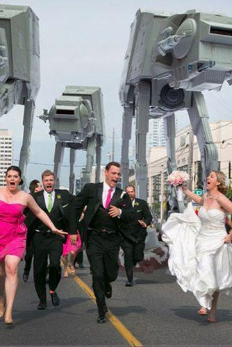 funny wedding pictures groom and bride with guests are running star wars theme photoshop little blue lemon
