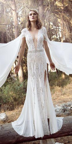 gala galia lahav wedding dresses 2018 cap sleeves embellishment lace elegant slit sweep train