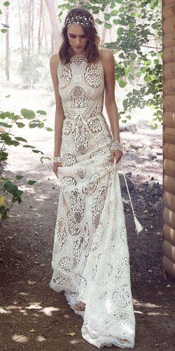 gala galia lahav wedding dresses bohemian with short train lace halter neck 2018