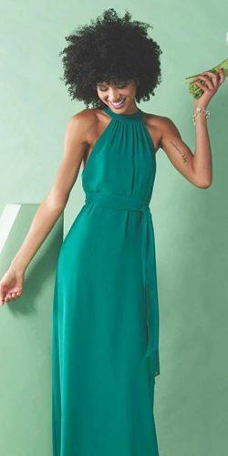 green bridesmaid dresses long halter neckline joanna august
