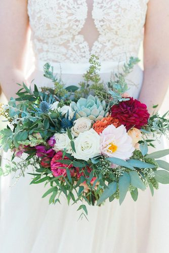 green wedding florals with white pink flowers and succulents kelsie pinkerton via instagram