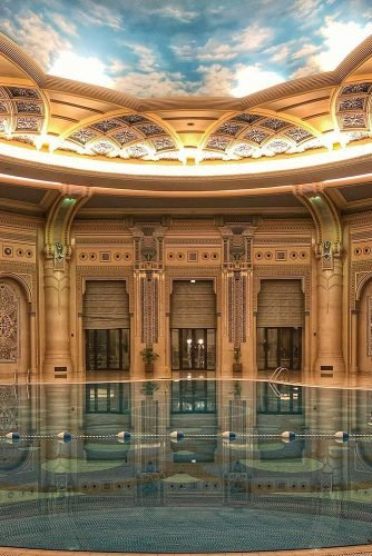 hawaii honeymoon indoor swimming pool in a beautiful room with a ceiling with sky illies_amar