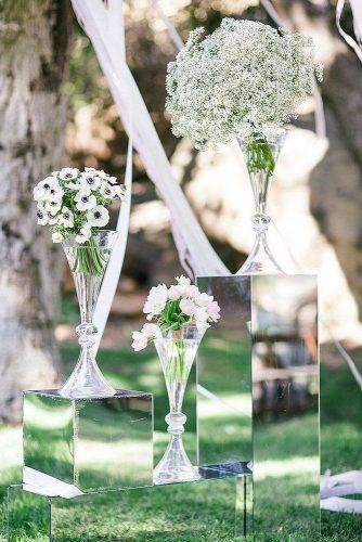 mirror wedding ideas mirror stands with white baby breath tulip flowers ryan phillips photography