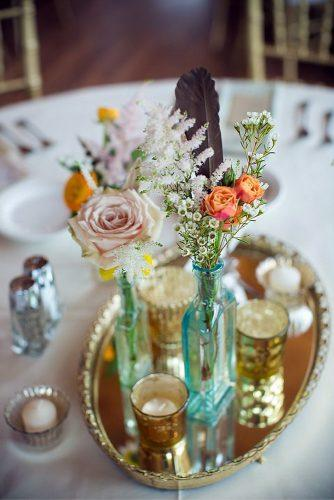 mirror wedding ideas on mirror tray candles and flowers in glass bottles twig and olive photography