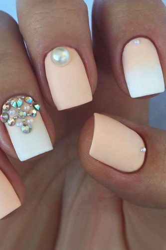 nail ideas ombre with pearls ana0m