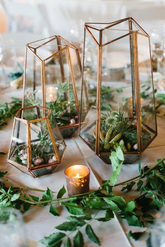 non floral wedding centerpieces geometric terrarium with succulents apryl ann photography