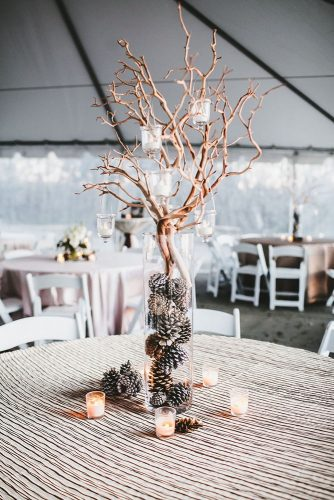non floral wedding centerpieces in a high transparent vase cones and branches with candles teale photo