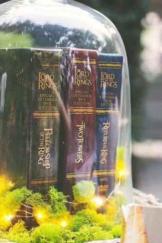 non floral wedding centerpieces lord of the rings trilogy under the glass dome emily link photography